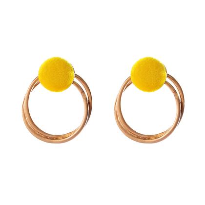 Fuzzy Yellow Earrings