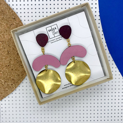 Shock of Grey Megadrop Earrings in Wine & Pink