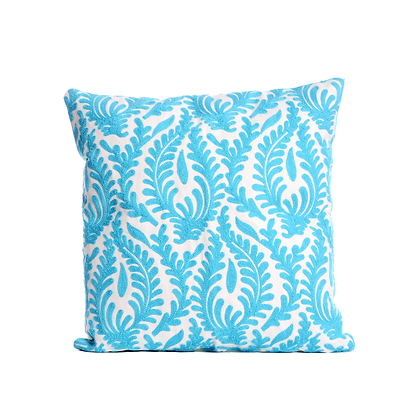 Sky Blue Foliage Cushion Cover