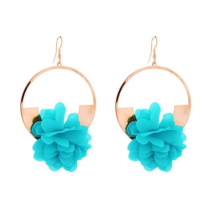 Blue Hibiscus Earrings