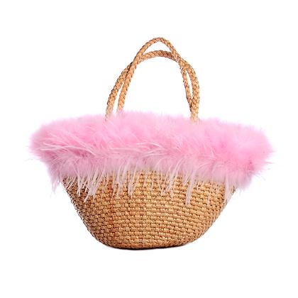 Large Candy Marabou Basket Bag