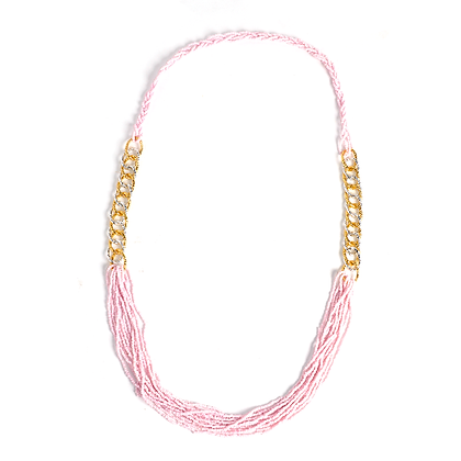 Pink Bead and Link Necklace