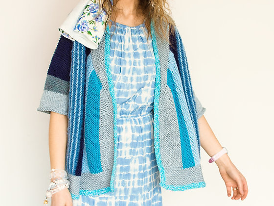 ONA by Agne 'Colours of Life' Blue Stripe Cardigan