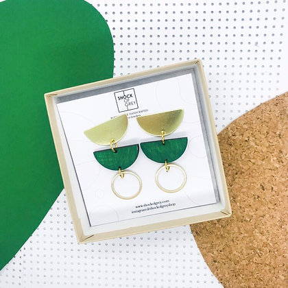 Shock of Grey Jenny Earrings in Emerald Green Lasercut Wood and Brass