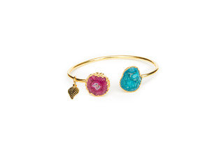 Magpie Rose Green & Pink Rocks in the Sky Bangle