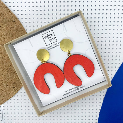 Shock of Grey D Doodle Earrings in Red