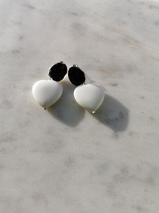 Tatiana Nestor White Agate Heart Stone Earrings