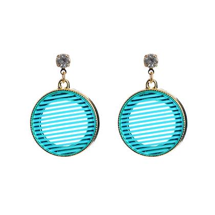 Electric Blue Disc Earrings