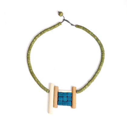 Geometric Wooden Beaded Necklace