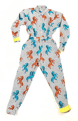 You're Only Gorgeous White, Turquoise & Orange Pony Jumpsuit