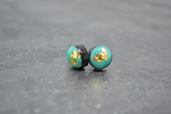 Ciara O'Neill Yellow Gold Leaf Aqua Green Coko Earrings