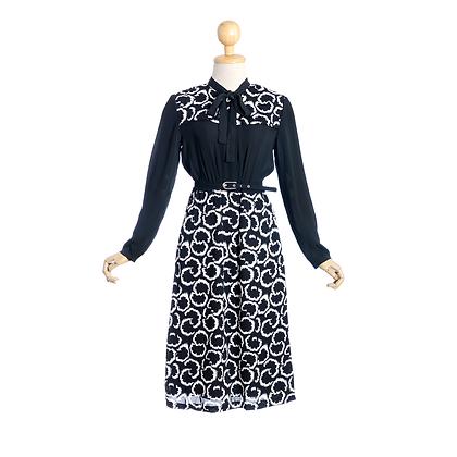 Black & White Pussy Bow Vintage Dress