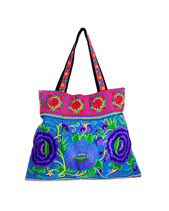 Purple Pansy Embroidered Bag