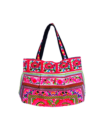 Zingy Zinnia Embroidered Bag