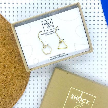Shock of Grey Wylie Earrings in Hexagon & Triangle
