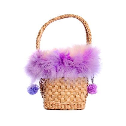 Small Iris Marabou Basket Bag