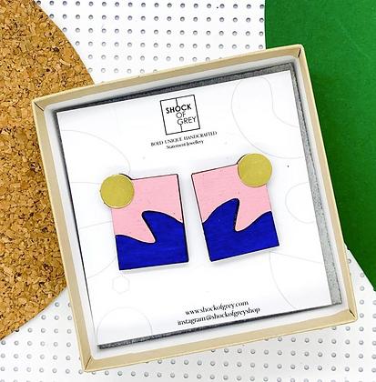Shock of Grey New Wave Earrings in Pink & Blue