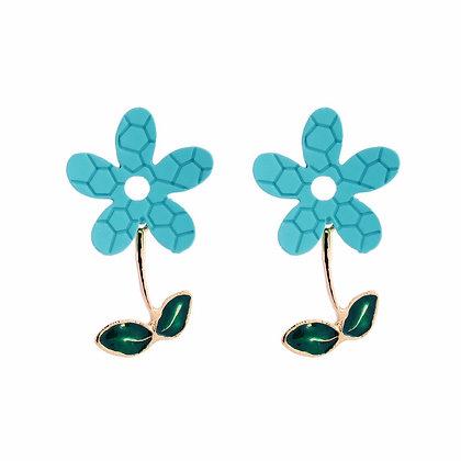 Blue Daisy Bloom Earrings
