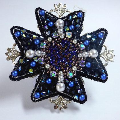 Tatiana Nestor Blue Beaded Flower Brooch