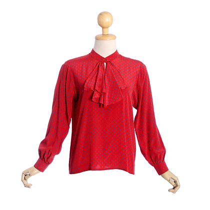 Red & Blue Just For You Vintage Blouse