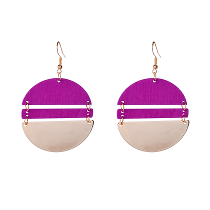 Interlinking Magenta Earrings