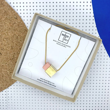Shock of Grey Box Cube Pendant in Peach