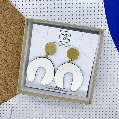 Shock of Grey D Doodle Earrings in White