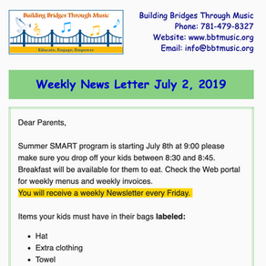 Weekly Newsletter July 2