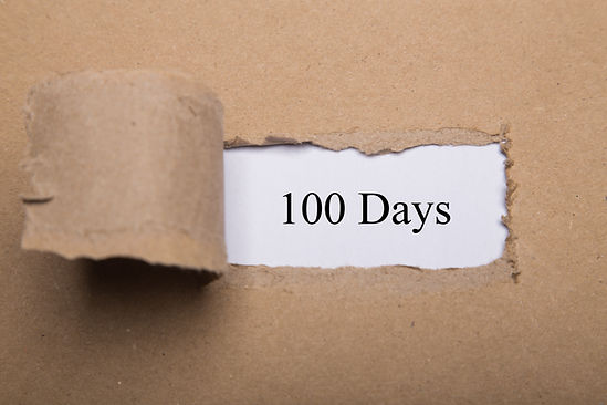 Torn paper box with word 100 Days on whi