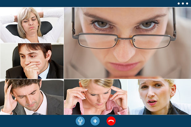 group video call screen of stressed business colleagues having video meeting trying to ove