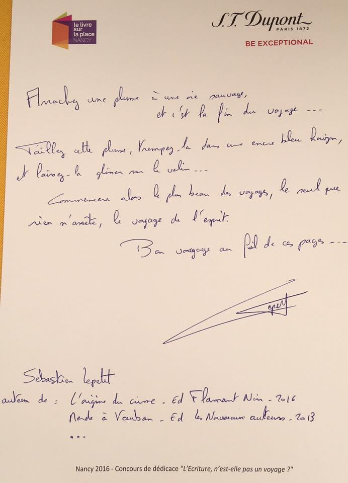 La plus belle dédicace du Livre sur la place Nancy 2016 est signée Sébastien Lepetit