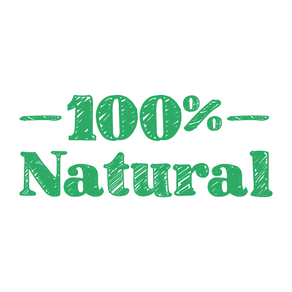 An illustration in green reading 100% natural.
