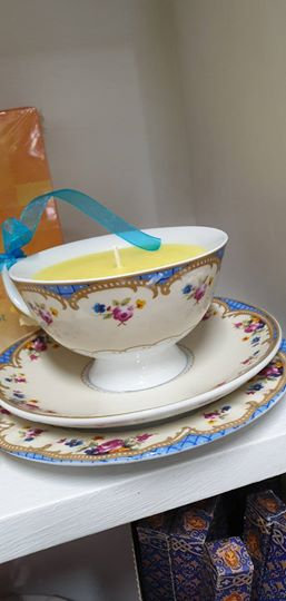 Candle in a Teacup - Yellow