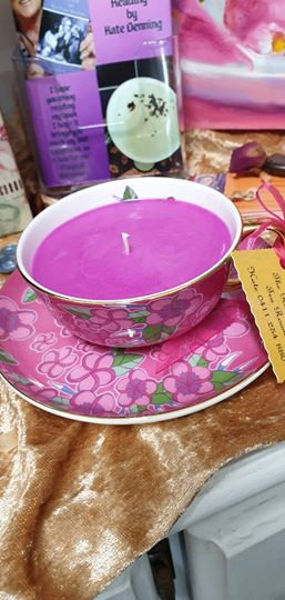 Candle in a Teacup - Purple