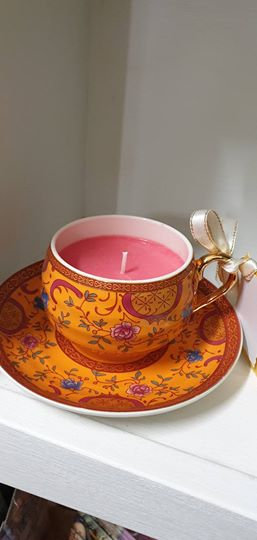 Candle in a Teacup - Deep Pink