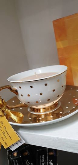 Candle in a Teacup -Gold Dots