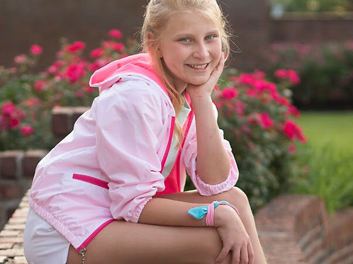 SET Athleisure Windbreaker in White and Neon Pink