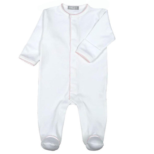 Baby Bliss White with Pink Trim Footie