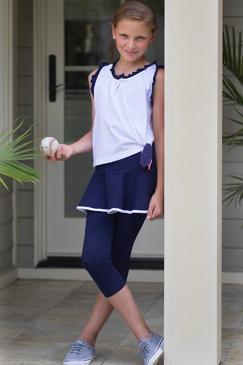 SET Athleisure Skirt/Legging Shirt Set in Navy and White