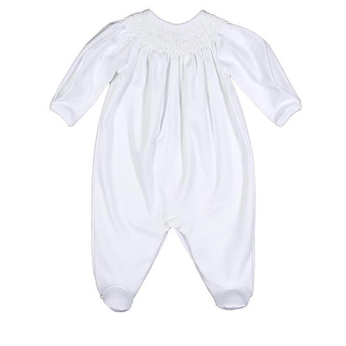 Baby Bliss Pima White Smocked Footie