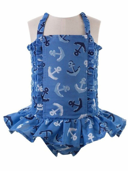 Rachel Riley Anchor Ruched Swimsuit