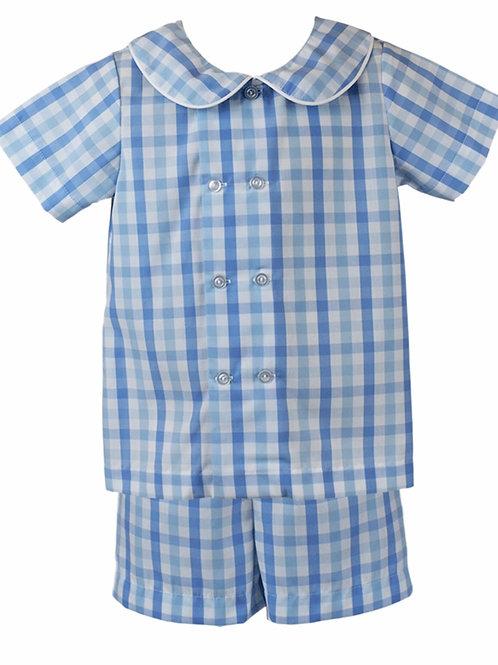 Lullalby Set Blue Plaid Arlington Short Set 24 mo