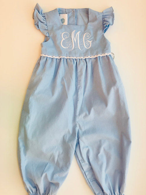 Lullaby Set Light Blue Cord Longall with Swiss Trim