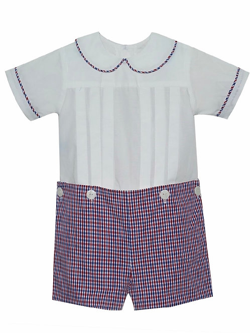 Lullaby Set Red and Navy Plaid Button-On Shortall