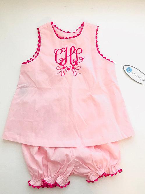 Lullaby Set Pink Bloomer Set with Hot Pink Ric 12, 18, 24 mo