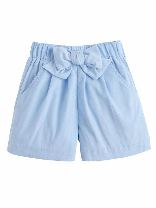 Little English Light Blue Cord Bow Shorts
