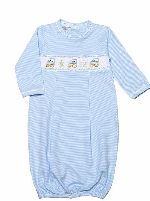 Baby Bliss Tractor Smocked Pima Gown