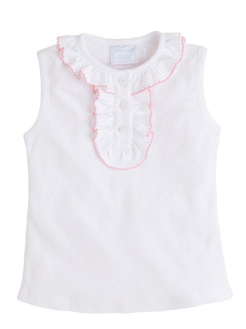 Little English Pink-Trimmed Henley Pima Shirt(7,8)