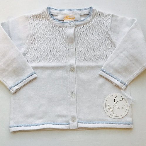 Petit Ami Ribbed White Sweater with Blue Trim