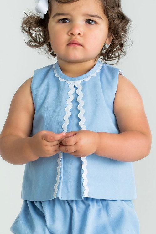 Little English Light Blue Twill Reese Bloomer Set